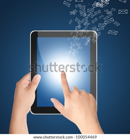 Hand touching tablet PC with incoming mails for internet, social connectivity - stock photo