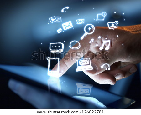 hand touching touch pad, social media concept - stock photo
