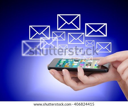 hand touching touch smart phone close up, social media concept - stock photo