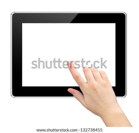 hand touching virtual screen a tablet with isolated screen - stock photo