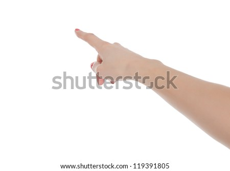 hand touching virtual screen, isolated on white - stock photo