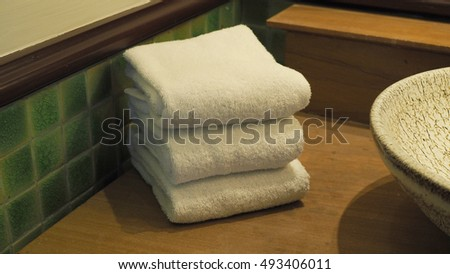 Hand towels in hotel