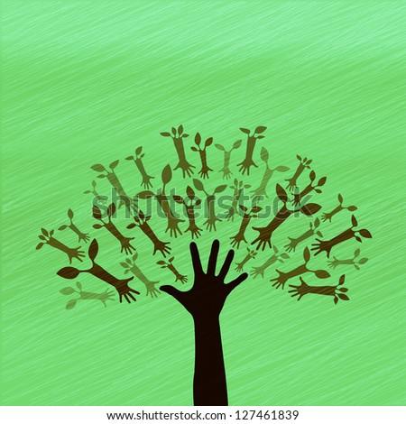 Hand Tree Sign - stock photo
