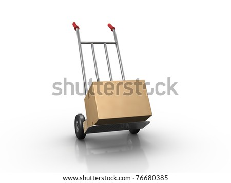 Hand Truck. Clipping Path included. - stock photo