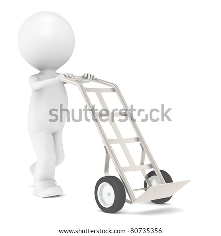 Hand Truck. 3D Little Human Character with a Hand Truck. Dolly Truck.