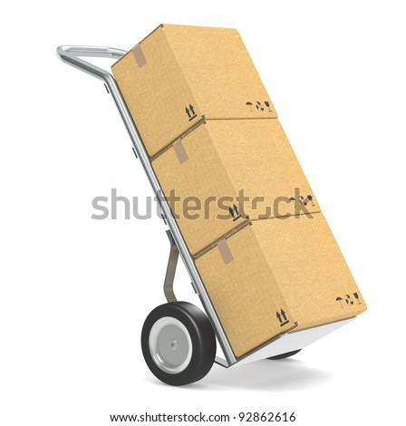 Hand truck . Hand truck with cardboard boxes. Part of warehouse and logistics series. - stock photo