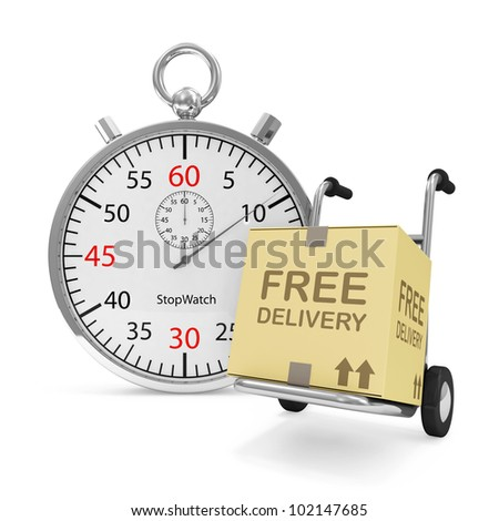 Hand truck with a box and Stopwatch on white background (Express Delivery Concept) - stock photo