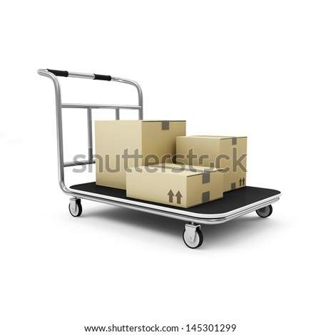 Hand truck with a boxes isolated on white background - stock photo