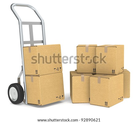 Hand truck with a Pile of cardboard boxes. Part of warehouse and logistics series. - stock photo