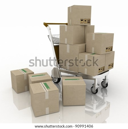 Hand truck with cardboard boxes - stock photo