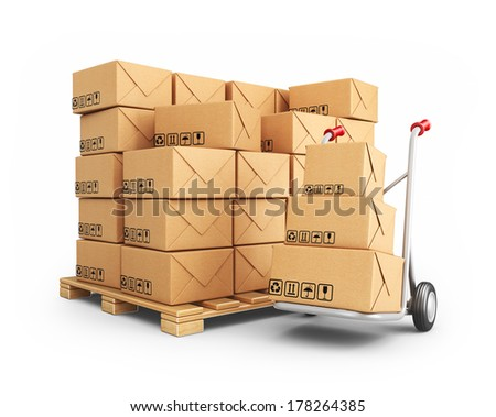 Hand truck with cardboard boxes. 3D Icon isolated on white background - stock photo