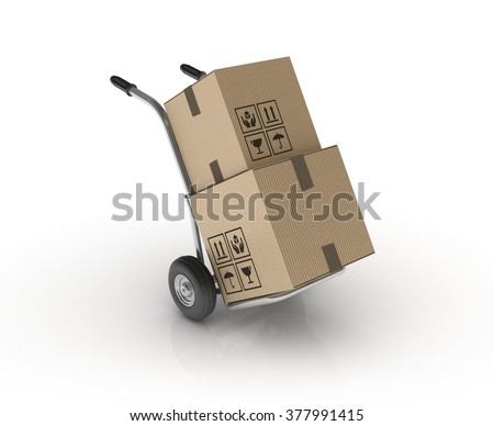 Hand Truck with Cardboard Boxes on White Background - High Quality 3D Render   - stock photo
