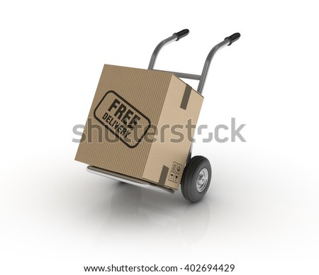 Hand Truck with FREE DELIVERY Cardboard Box on White Background - High Quality 3D Render   - stock photo
