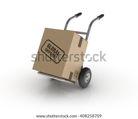 Hand Truck with GLOBAL SHIPMENT Cardboard Box on White Background - High Quality 3D Render   - stock photo