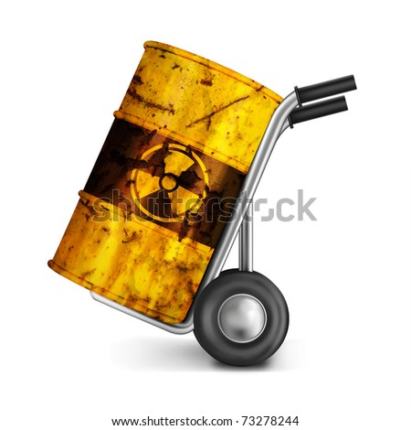 hand truck with rusty barrel of dangerous risky nuclear waste with radioactive atoms toxic pollution and environmental ecological risk of poison leaking environment radioactivity leak gamma radiation - stock photo