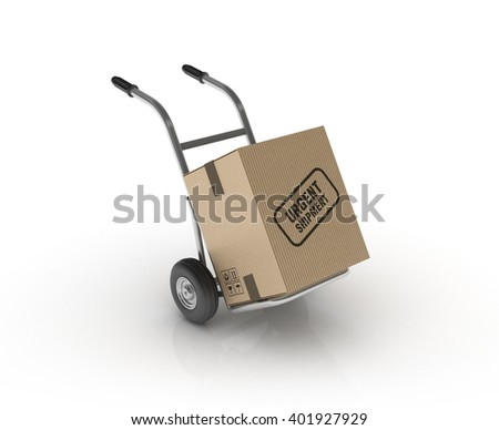 Hand Truck with URGENT SHIPPING Cardboard Box on White Background - High Quality 3D Render   - stock photo
