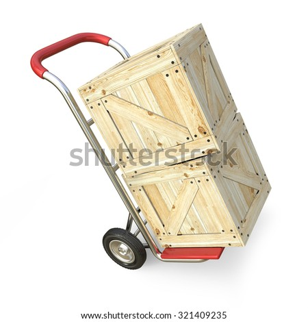 Hand truck with wooden box. Delivery concept. 3D render illustration isolated on white background - stock photo