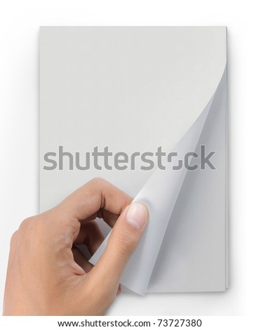 hand turn page of magazine. ready for new design - stock photo