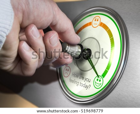 Hand turning a mood indicator knob to the optimistic position. Composite image between a photography and a 3D background.
