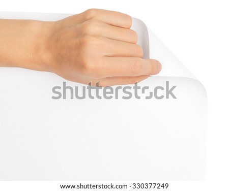 Hand turning blank page on isolated white background