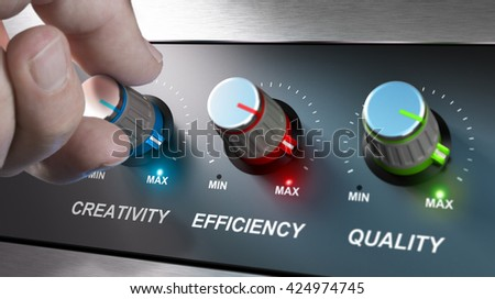 Hand turning knobs where it is written the words creativity, quality and efficiency. Concept for communication on company values. Composite image between an photography and a 3D background.