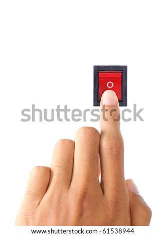hand turning on electrical switch - stock photo