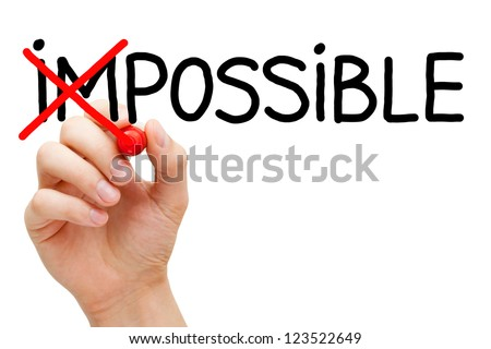 Hand turning the word Impossible into Possible with red marker isolated on white. - stock photo