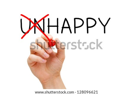 Hand turning the word Unhappy into Happy with red marker isolated on white. - stock photo