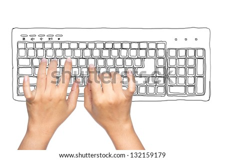 Hand typing computer keyboard isolated on white - stock photo