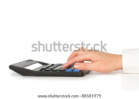 hand typing on calculator isolated opn white
