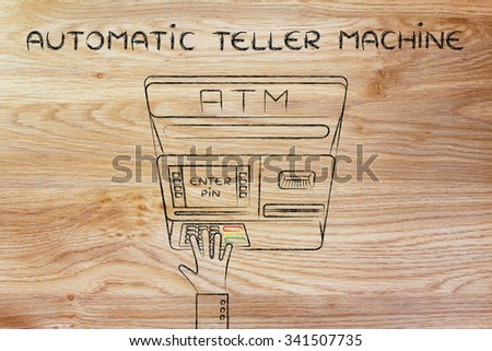 hand typing pin code on automatic teller machine, concept of money and atm banks