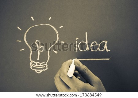 Hand underline Idea word with light bulb symbol