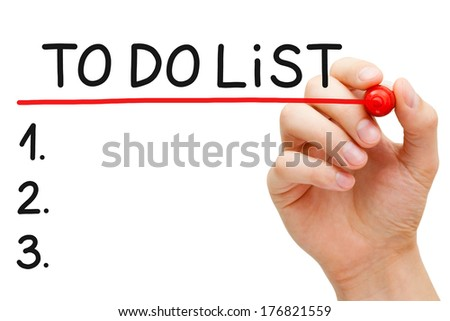 Hand underlining To Do List with red marker isolated on white. - stock photo