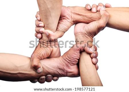 hand united isolated on white background - stock photo