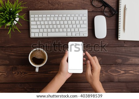 hand use phone blank screen top view - stock photo
