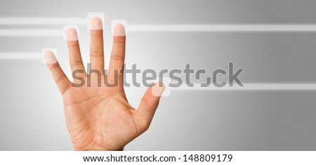 Hand using a touch screen
