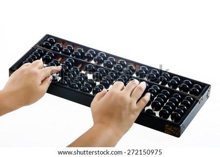 hand using abacus isolated on white background - stock photo