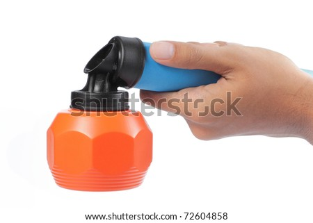 hand using bug spray. isolated over white background - stock photo