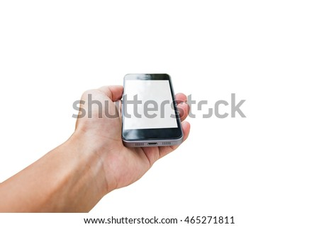 Hand using mobile phone,with blank screen, isolated on white background