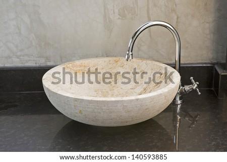 Hand washing basin with grey background - stock photo