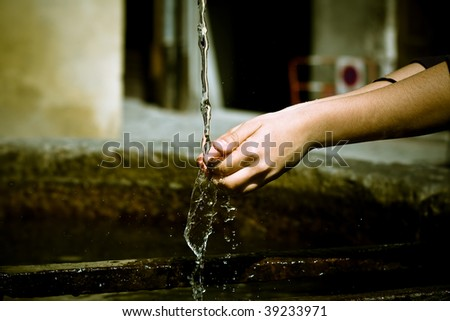 hand washing in outdoor - stock photo
