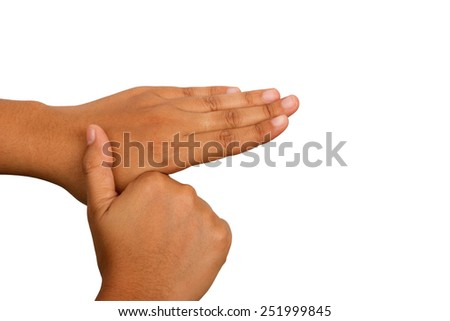 Hand washing procedure, fifth step, real hand photo. over white background - stock photo