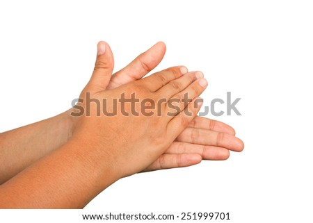 Hand washing procedure, first step, real hand photo. over white background - stock photo