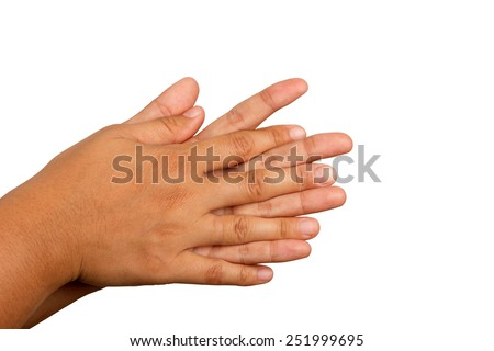 Hand washing procedure, third step, real hand photo. over white background - stock photo