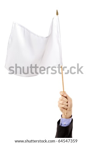 Hand waving a white flag isolated on white background - stock photo