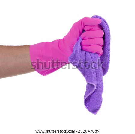 Hand wearing rubber glove and hold rag(mop), isolated on white - stock photo