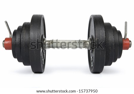 Hand weight consisted of disc weights isolated on white. Clipping path incl.