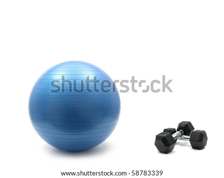 Hand weights and a fitball isolated against a white background - stock photo