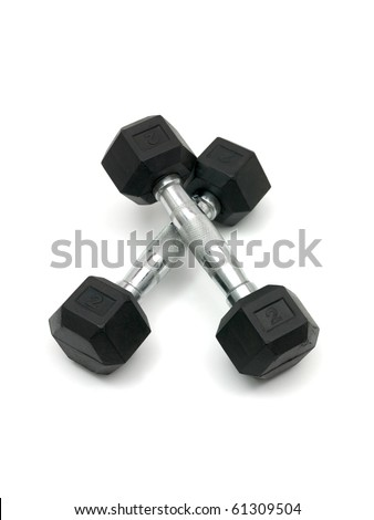 Hand weights isolated against a white background - stock photo