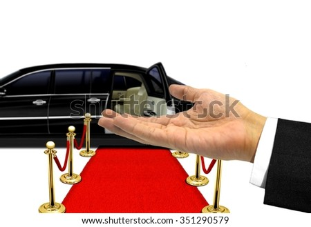 Hand welcome gesture to a luxury limousine ride - stock photo